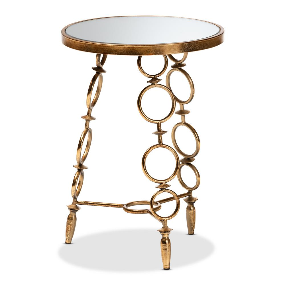 baxton studio inaya antique gold accent table the home end tables round plastic tablecloths with elastic vitra chair replica outdoor oak bar distressed gray concrete top pedestal