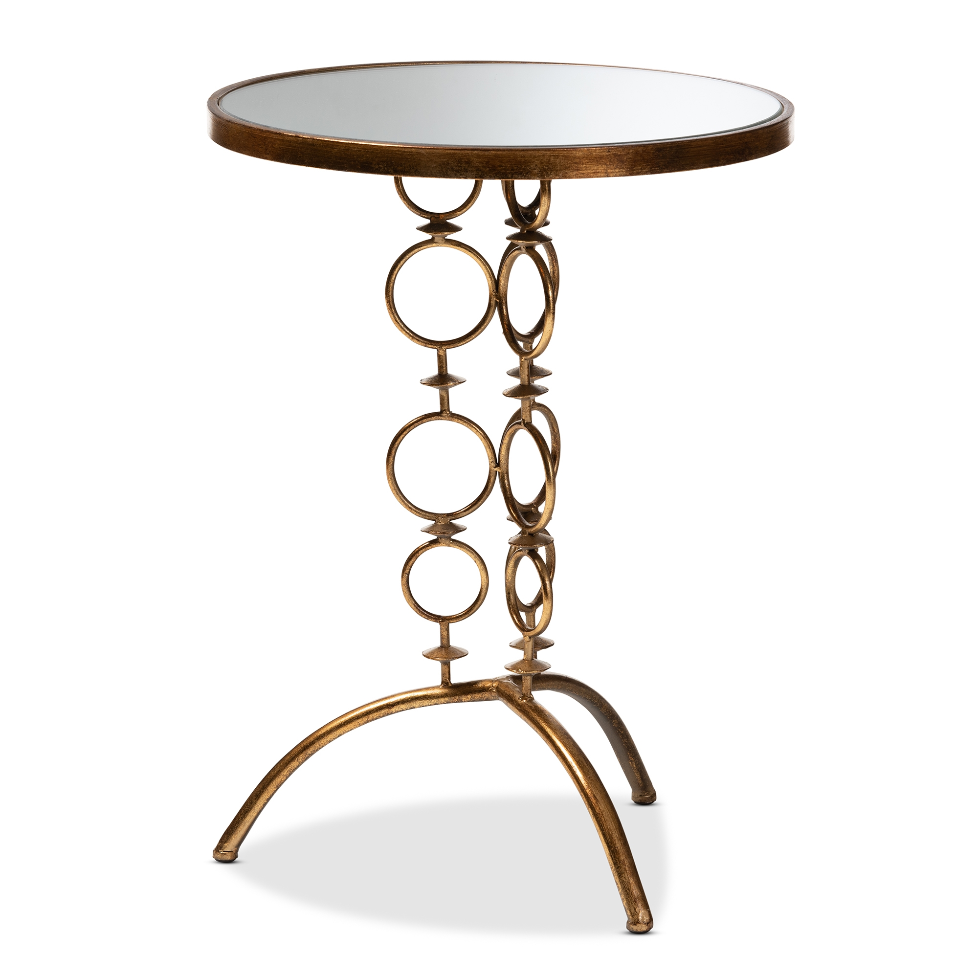 baxton studio issa modern and contemporary antique gold finished mirrored glass accent table metal with drawer little kid chairs farmhouse seats changing dimensions the outdoor