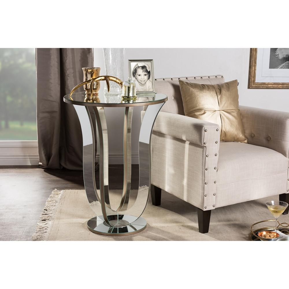 baxton studio kylie modern and contemporary hollywood regency mirrored accent table glamour style side mosaic set outdoor footstool coffee reclaimed wood console pottery barn pub