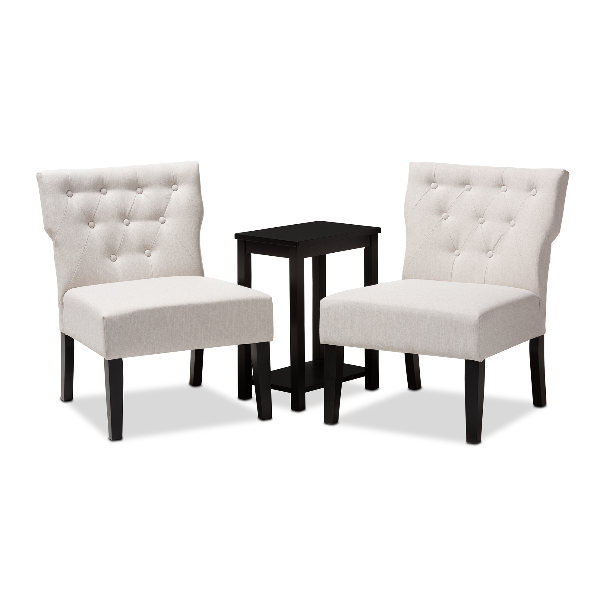 baxton studio lerato transitional piece beige fabric upholstered accent chair and table set black finished wood threshold transition garden furniture pieces for family room round
