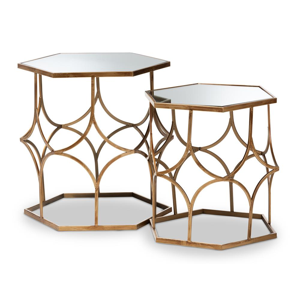 baxton studio sada antique gold stackable accent table set piece end tables plexiglass nesting diy barn door linen napkins corner bench small round occasional ikea folding wood