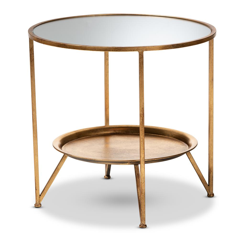 baxton studio tamsin antique gold accent table with tray shelf end tables numeral wall clock elm flooring wine rack furniture bathroom styles storage space target mirrored side