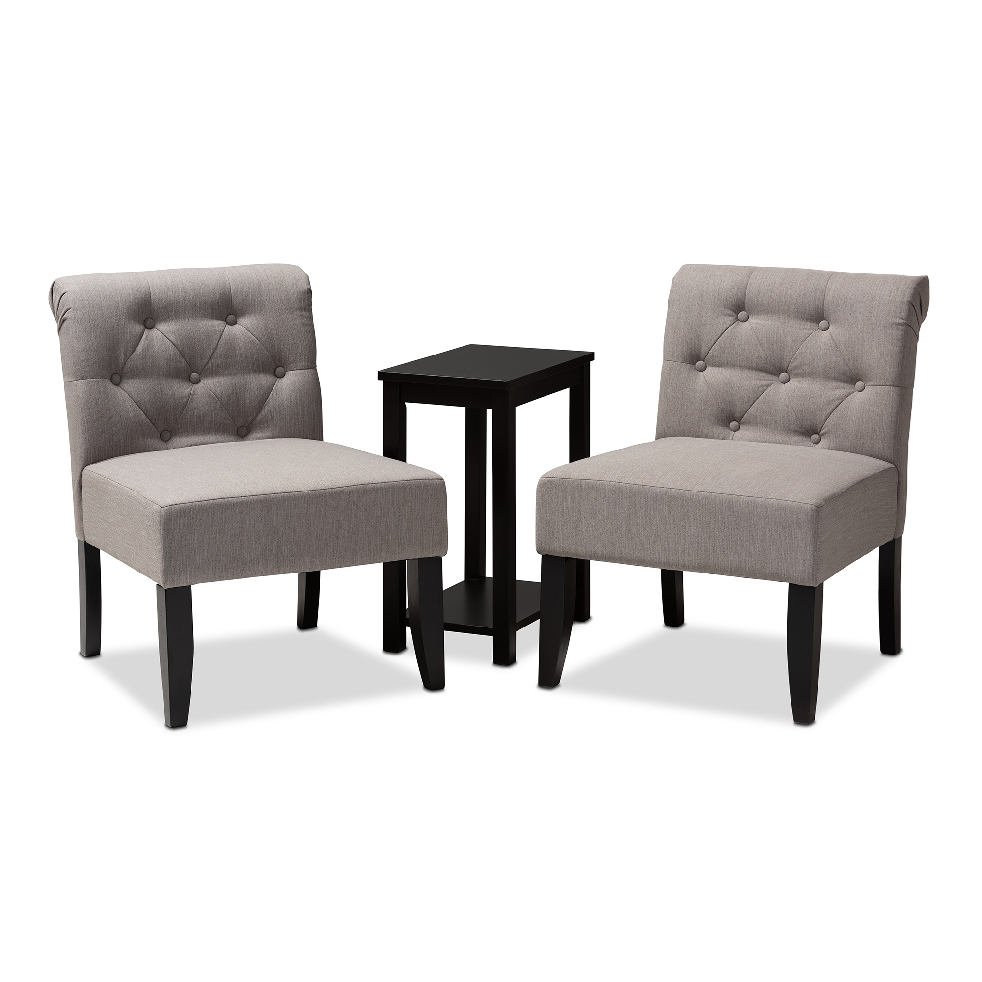 baxton studio veda transitional piece dark gray fabric upholstered accent chair and table set black finished wood glass couch concrete coffee end tables side red outdoor bridal