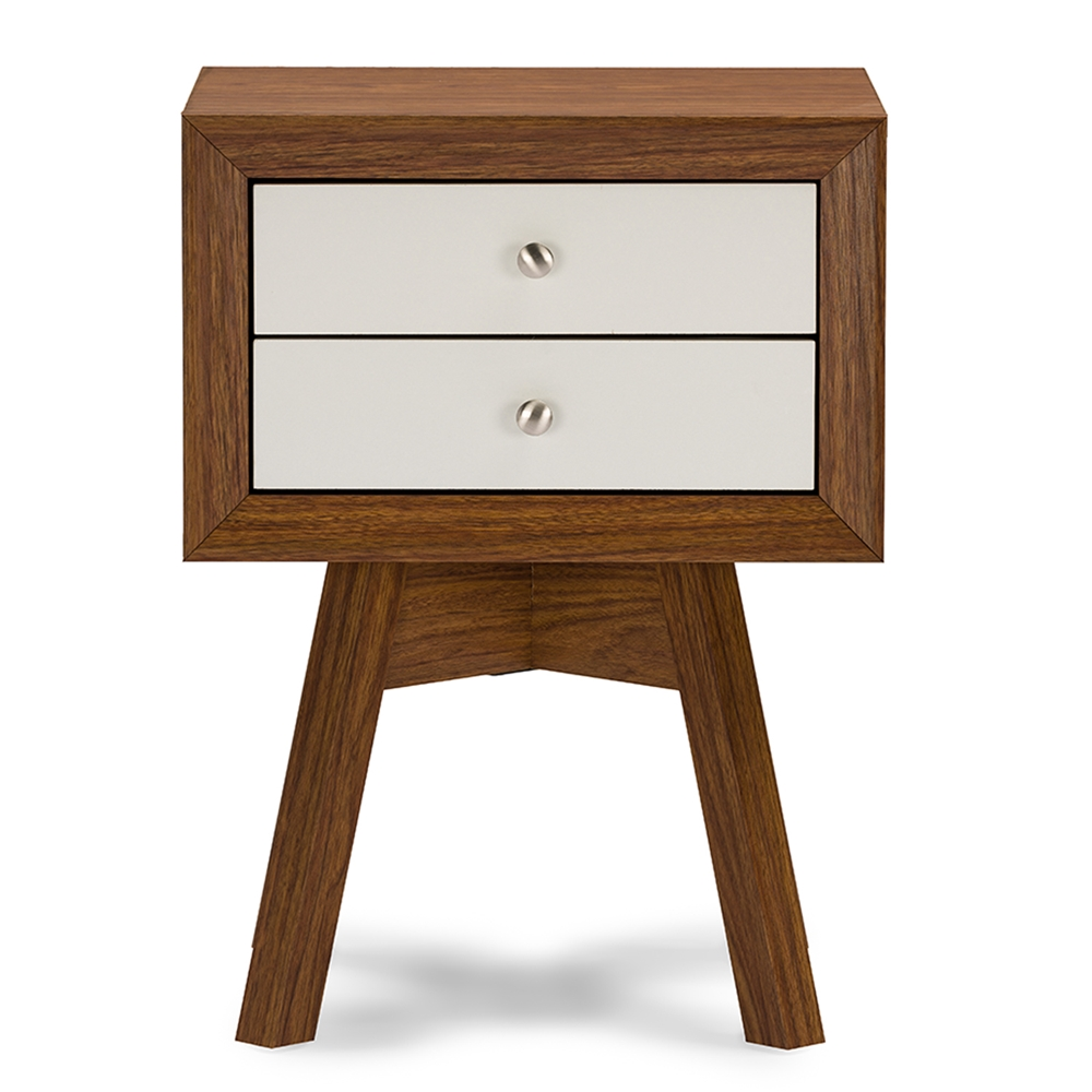 baxton studio warwick two tone walnut and white modern accent table tables nightstand iest farm dining with bench country furniture starfish lamp vita silvia outdoor wicker lounge
