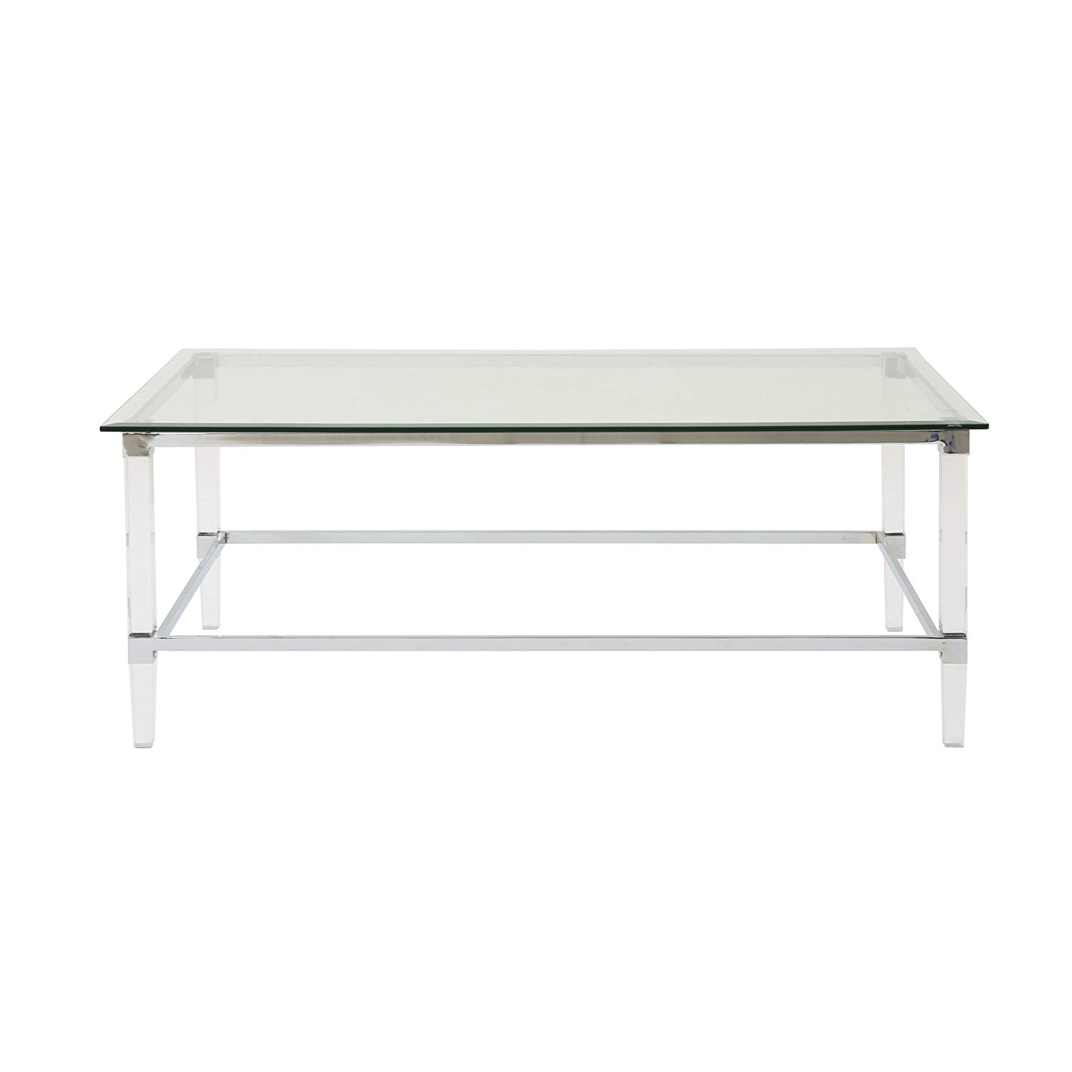 bayor modern tempered glass coffee table with acrylic lorelei accent and iron accents kitchen dining outdoor storage bench seat black nest tables ikea west elm parsons mosaic end