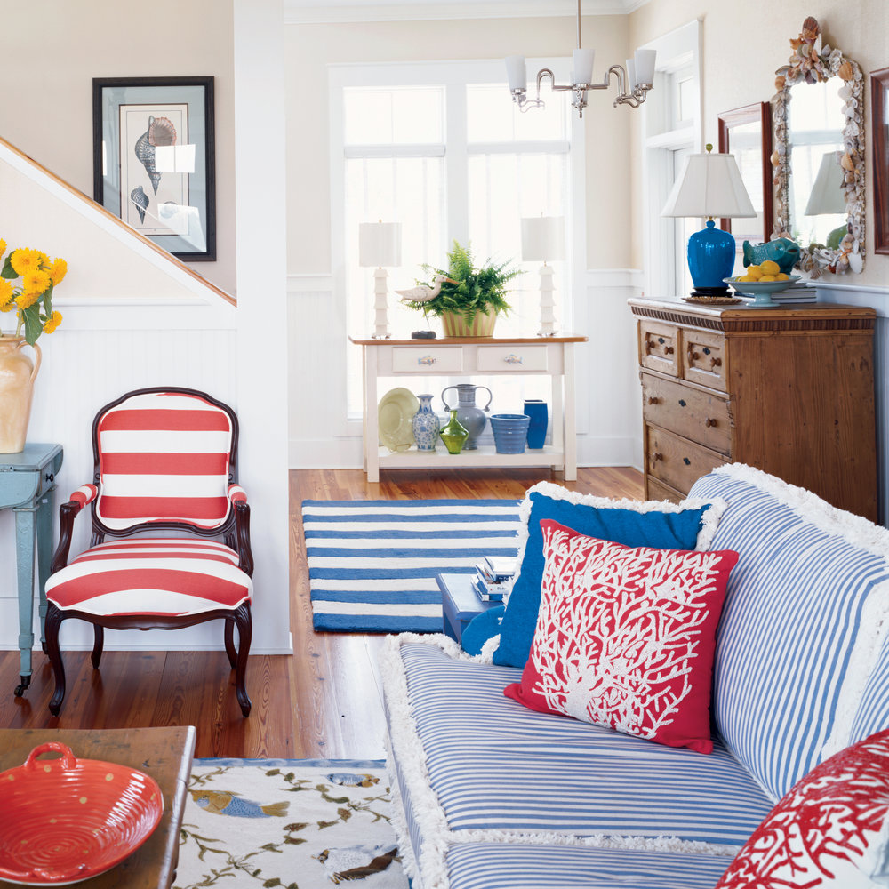 beach house color ideas coastal living red white blue room redwhite better homes and gardens accent table multiple colors all weather outdoor furniture small tiffany style desk