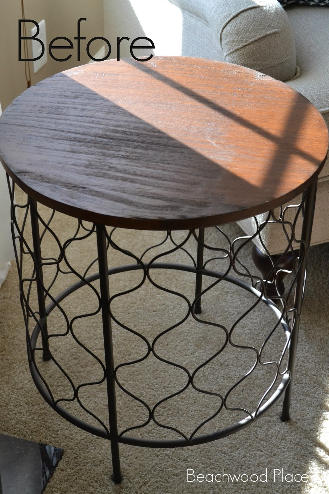 beachwood place diy coastal compass table beforetable painted metal accent took while decide what wanted with this after scrolling through the internet looking for inspiration