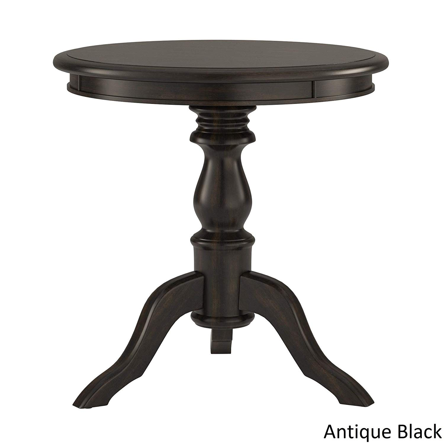 beckett antique wood pedestal accent table inspire classic black kitchen dining wooden room chairs contemporary metal side tables end with light attached cabbage rose tiffany lamp