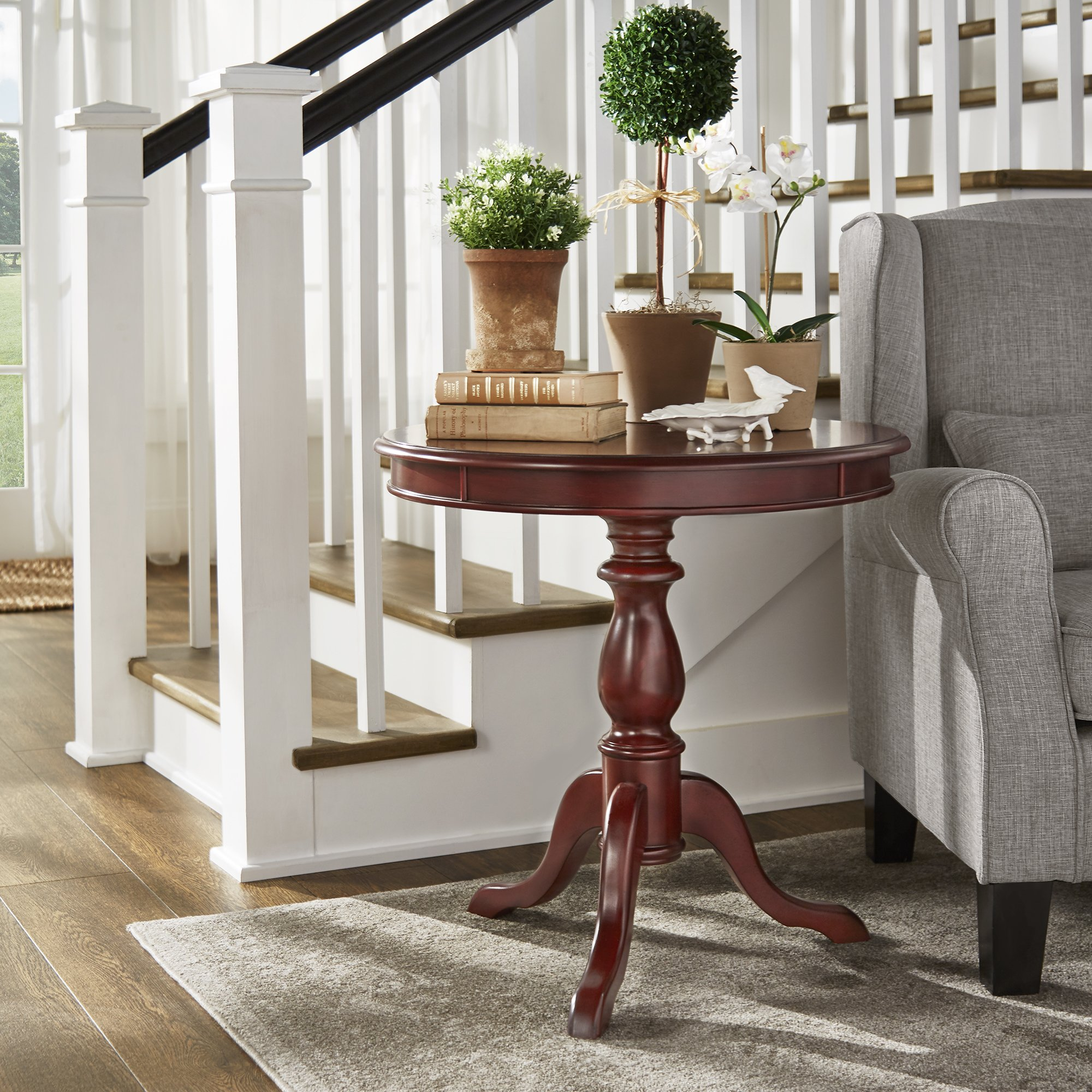 beckett antique wood pedestal accent table inspire classic oak free shipping today square garden cover round nest coffee tables marble stone gold mirror couch stained glass floor