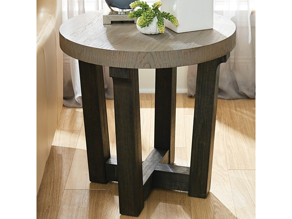 beckham contemporary round accent table with two tone finish products hammary color tables morris home beckhamround coffee toronto barnwood long runners strip between carpet and