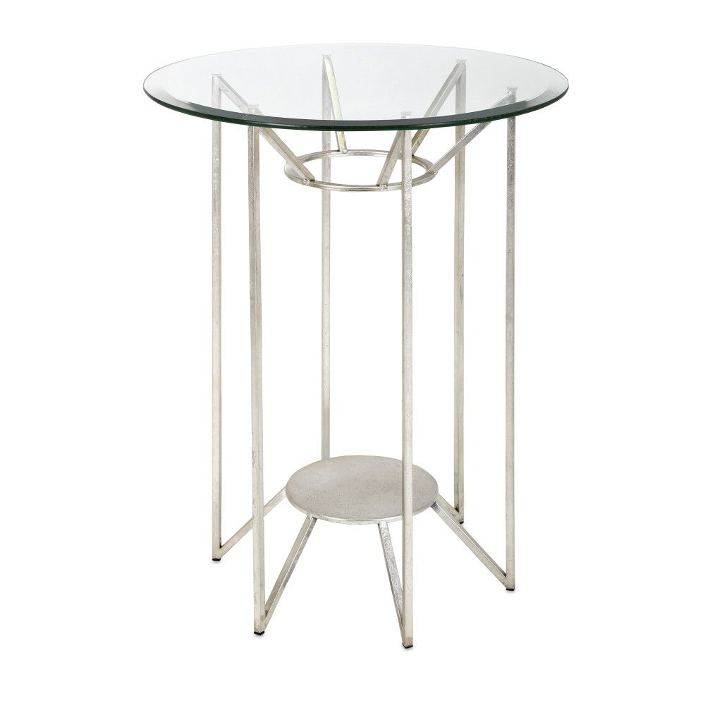 bedmister side table this modern round accent features clear glass top and mid century style base silver finish marble lamp wine shelf target grey tall console white living room