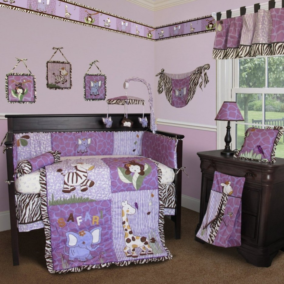 bedroom purple elephant baby bedding sets with black zebra crib valance brown fabric carpet lacquered wood side table drawer animal accent wall home goods kitchen tall mirrored