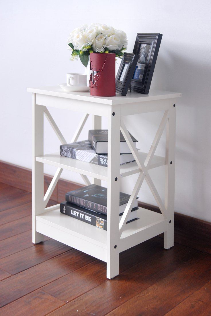 bedroom tall end tables white and books also furniture decorative plant for complementary decoration coffee table under pier one unfinished shelves small round kitchen sets old