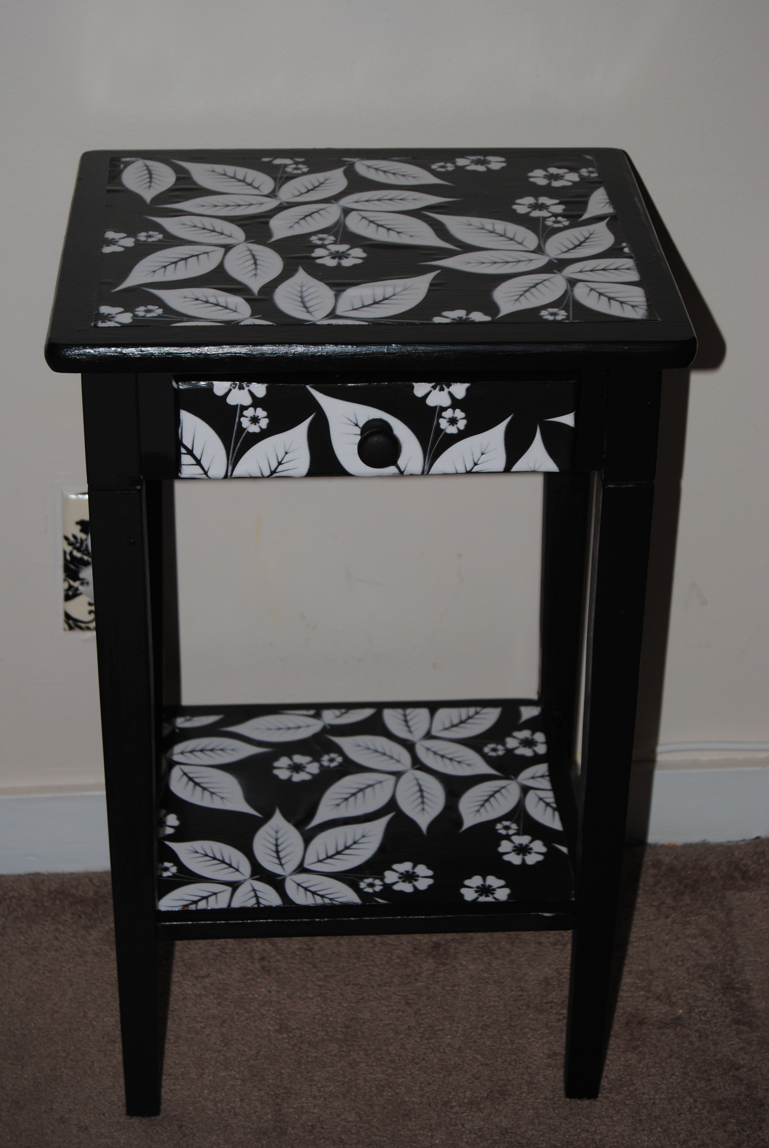 bedside table restyled with decoupage the upcycle upcycled accent little tip had few air bubbles appear surface used sewing needle poking tiny hole bubble smoothed out and then