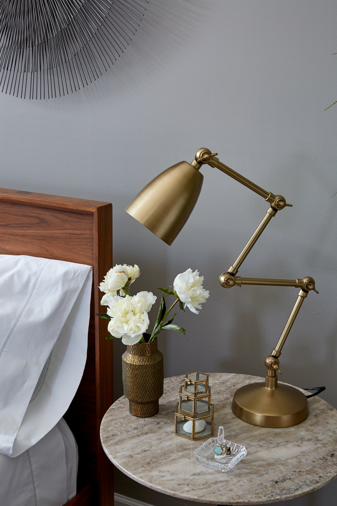 before after taylor dream bedroom makeover crate and barrel blog knurl accent table curated with folding brass lamp mini antique cylinder vase big coffee tables skinny foyer gold