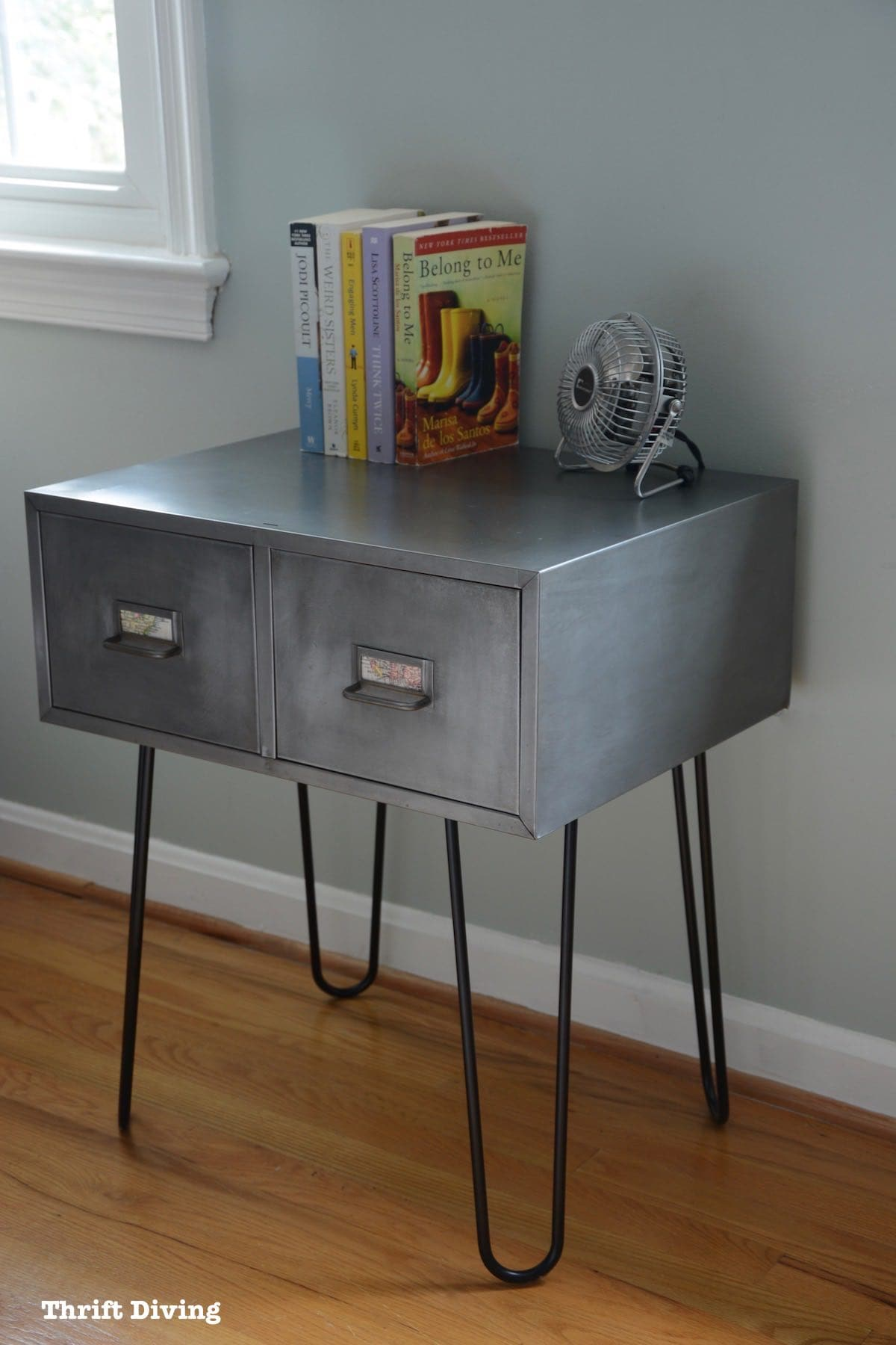 before after vintage metal cabinet with hairpin legs makeover thrift diving leg accent table use nightstand end industrial pier dining set blue chair ott antique lamp pottery barn