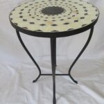 beige black mosaic iron outdoor accent table bella green geometric lamp tall plant stand bedroom lamps target ashley living room tables blue round huge wall clock glass and metal 150x150
