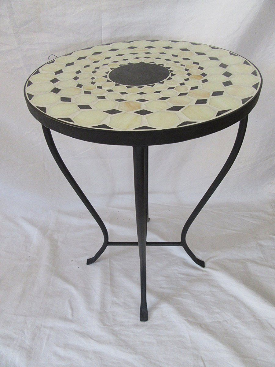 beige black mosaic iron outdoor accent table bella green geometric lamp tall plant stand bedroom lamps target ashley living room tables blue round huge wall clock glass and metal