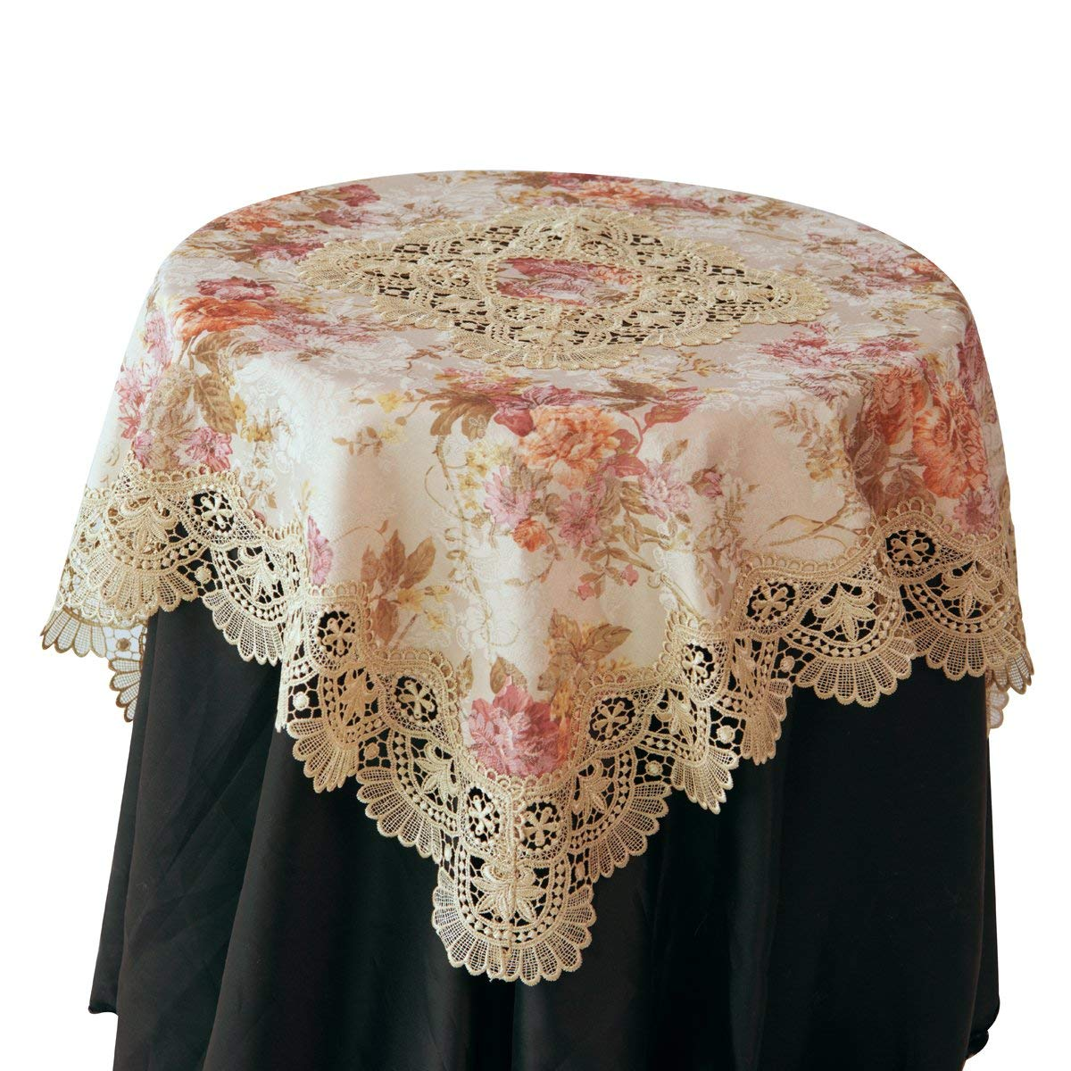 beige lace tablecloth with floral printed round accent jacquard fabric elegant tablecover for home decor square coffee table cloth topper patterns sewing arcadia furniture small