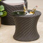 belen outdoor brown wicker accent table with ice bucket gdf studio plastic chairs pottery barn pedestal side metal wood bedside round counter height dining set gold and glass end 150x150