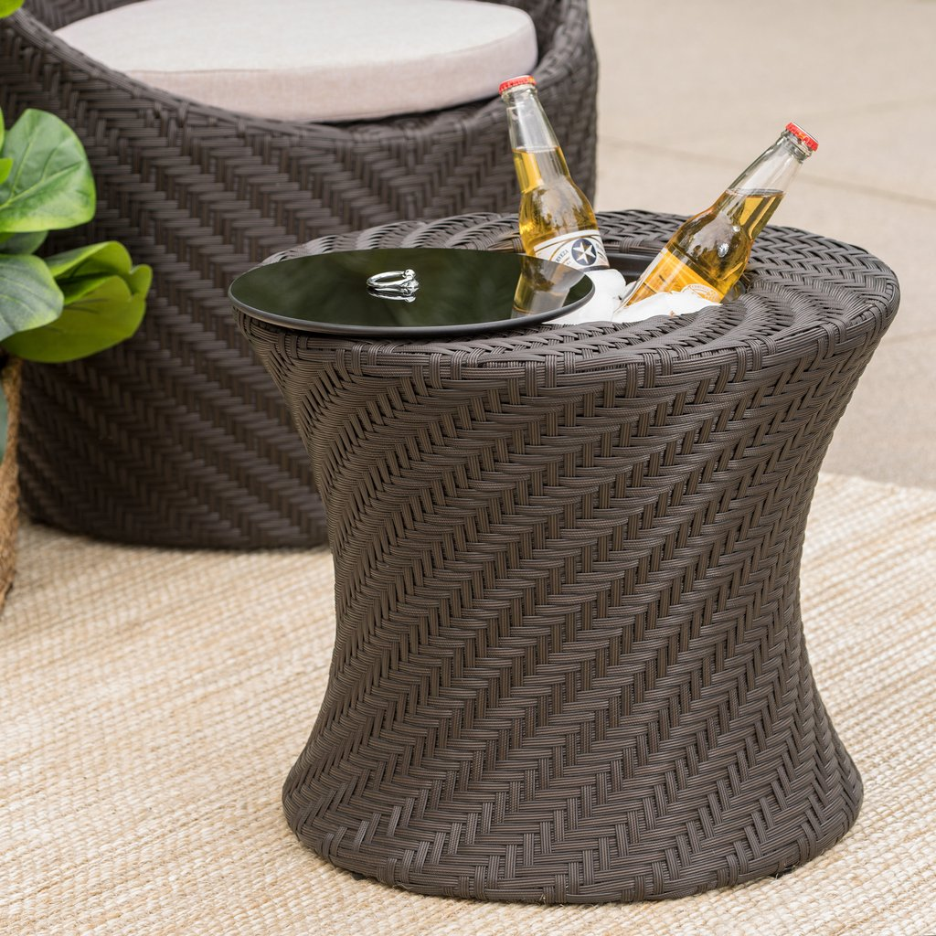 belen outdoor brown wicker accent table with ice bucket gdf studio plastic chairs pottery barn pedestal side metal wood bedside round counter height dining set gold and glass end