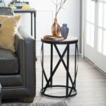 belham living allen reclaimed wood drum side table shaped accent kitchen dining nate berkus bath rug bathroom towels west elm small telephone ikea antique white round end black 150x150