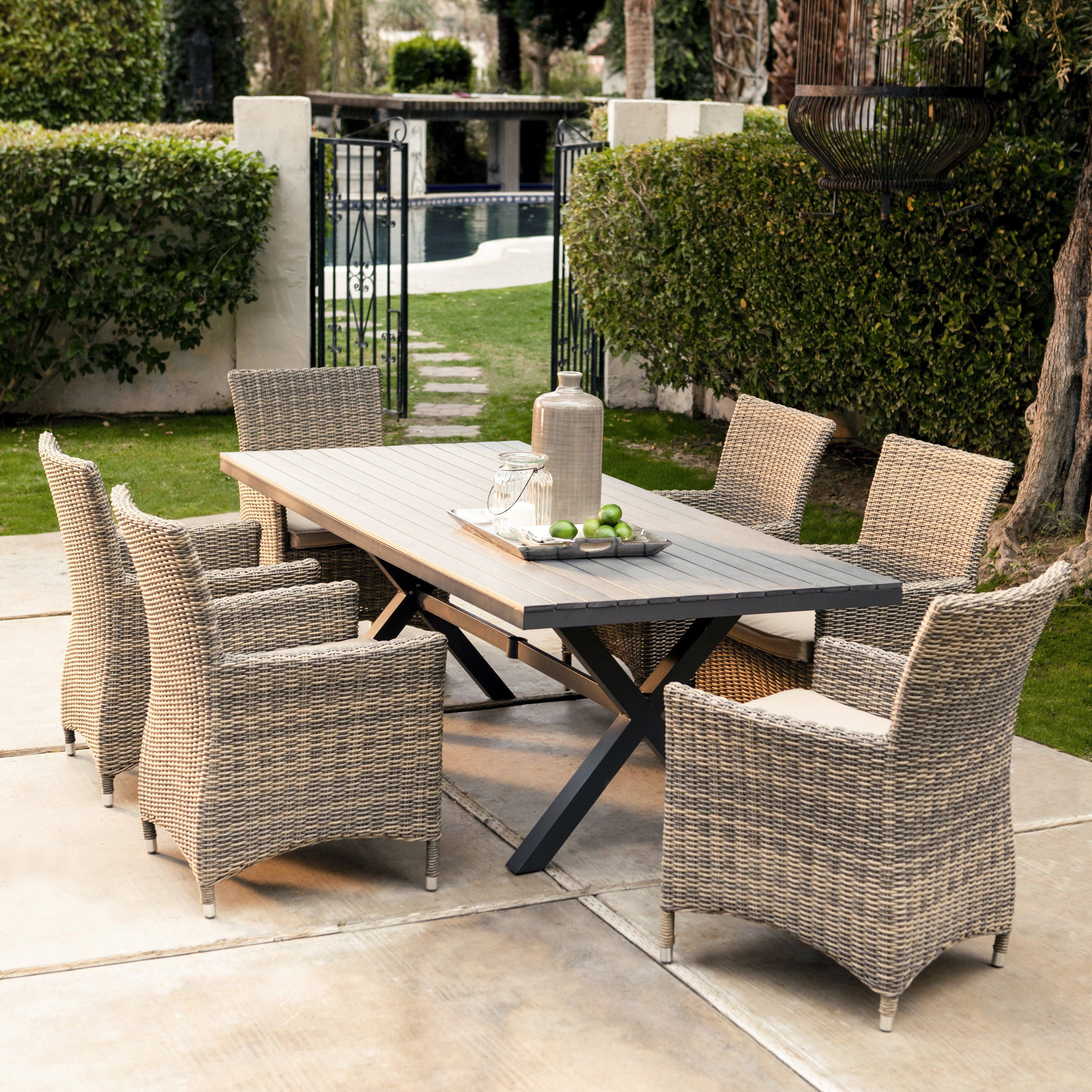 belham living bella all weather wicker piece patio dining set ave six fabric chair and accent table seats side adjustable height mini tiffany style lamps large farmhouse kitchen