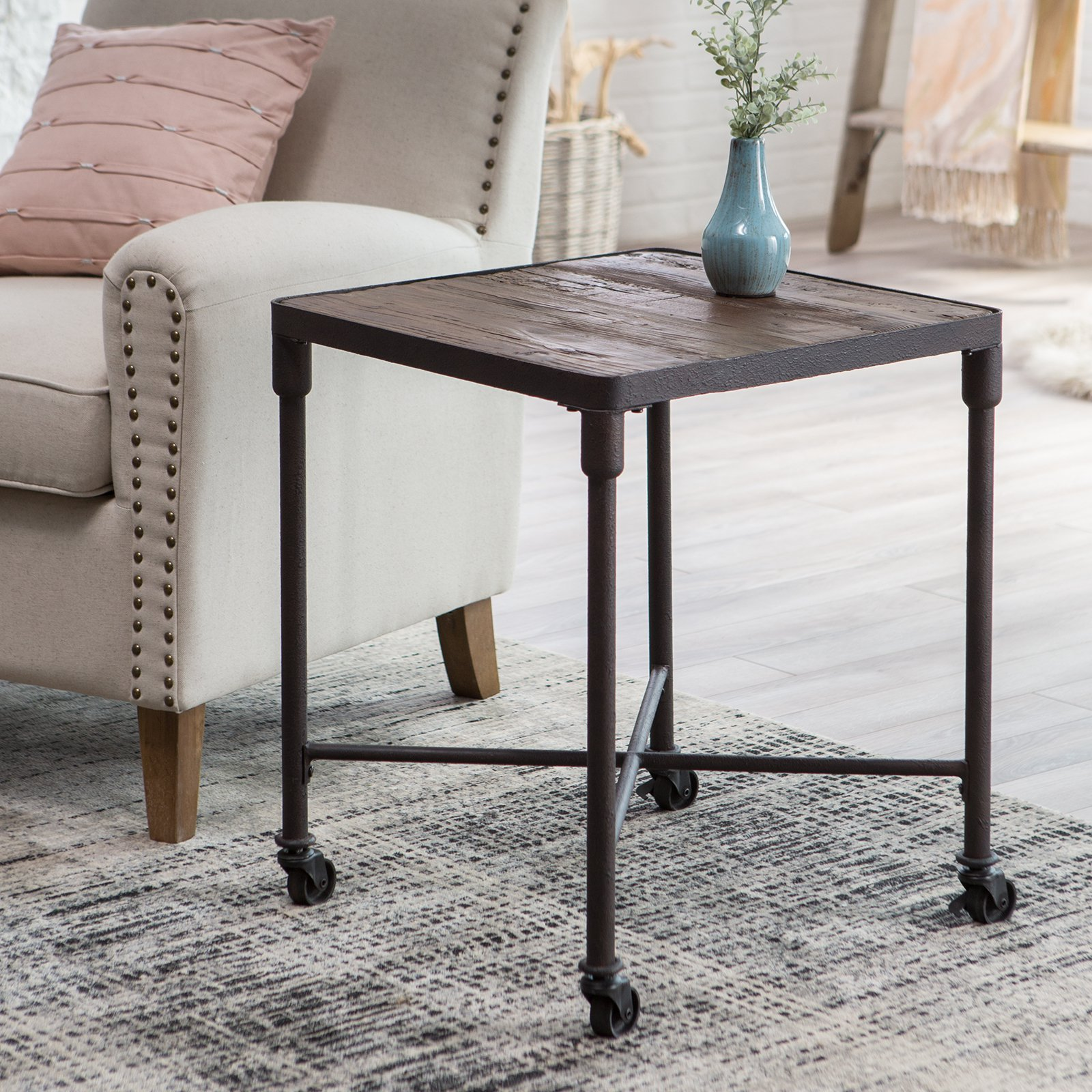 belham living franklin reclaimed wood industrial end table master with pipe legs farmhouse base badcock home furniture reviews used dining room chairs fitted tablecloths raw