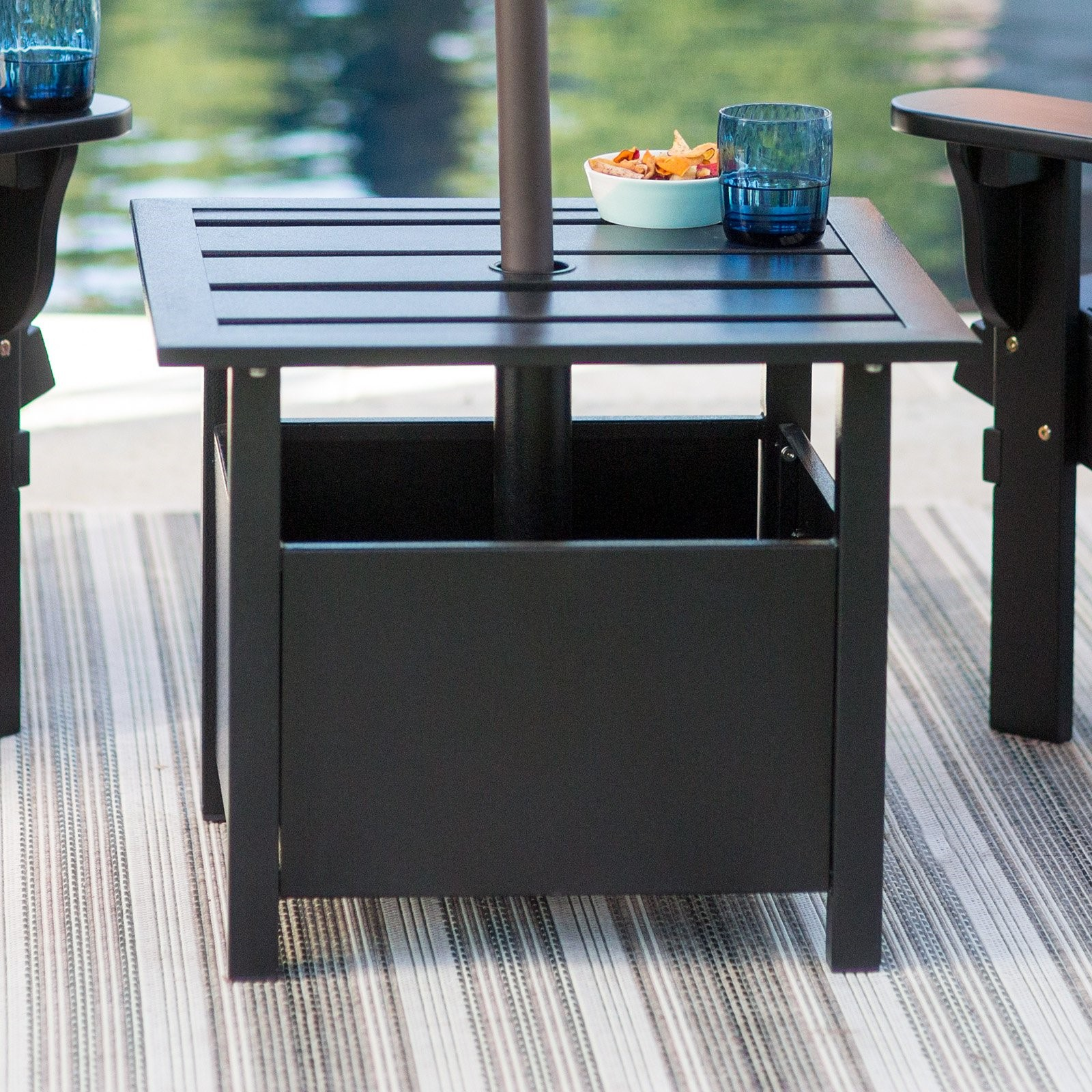 belham living steel square umbrella side table with slat top outdoor accent tablecloth for round grey plastic small porch and chairs patio cover battery powered dining room