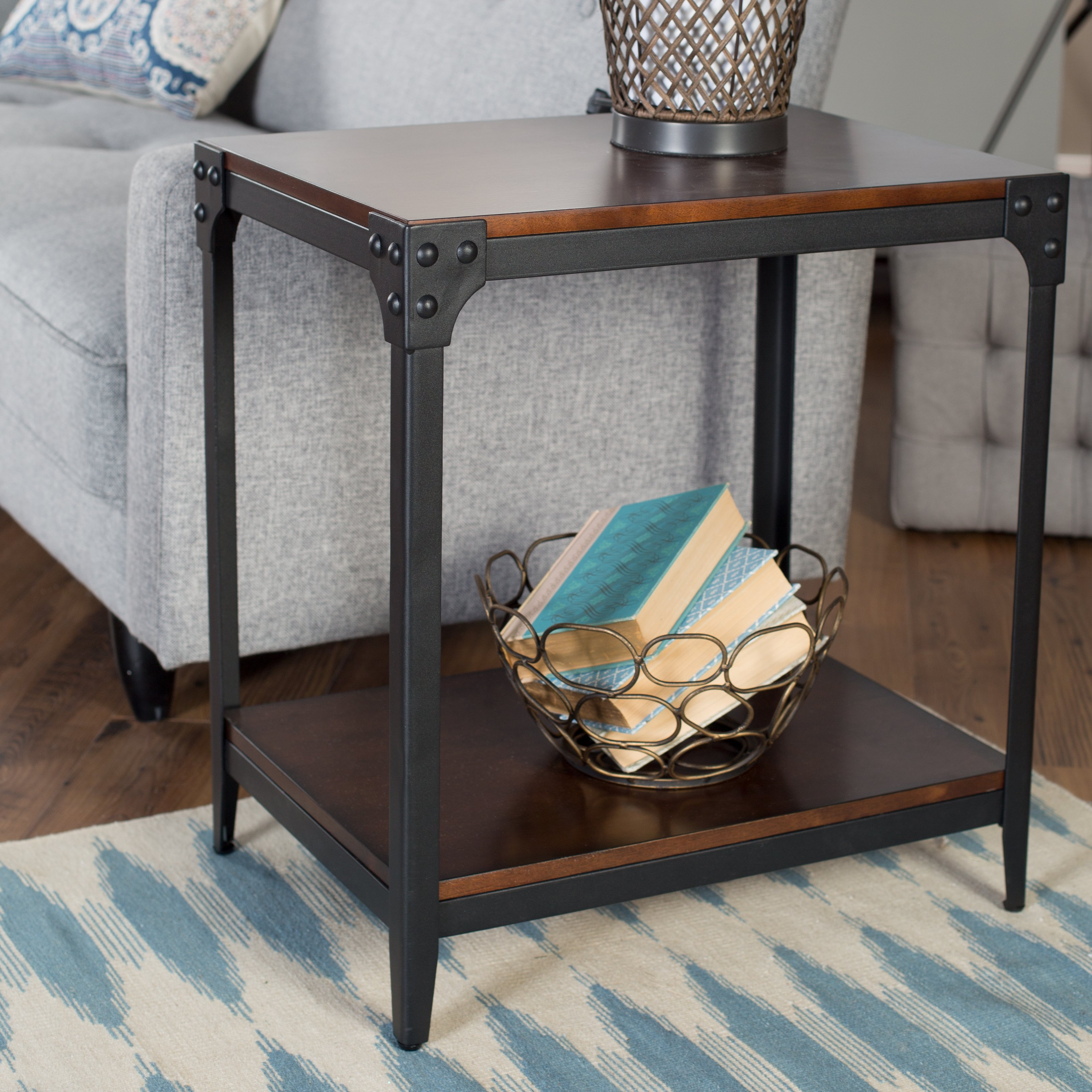 belham living trenton industrial end table espresso accent under retro bedroom furniture coffee legs ikea pier one rattan usb small skinny side sofa with baskets low drum throne
