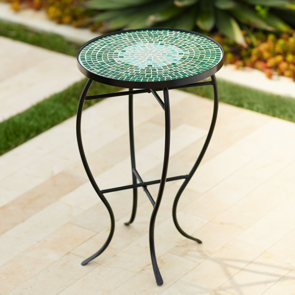 bella green mosaic outdoor accent table home improvement small half trunk patio umbrella replacement beach chairs bunnings thin cabinet pottery barn floor lamps glass and metal