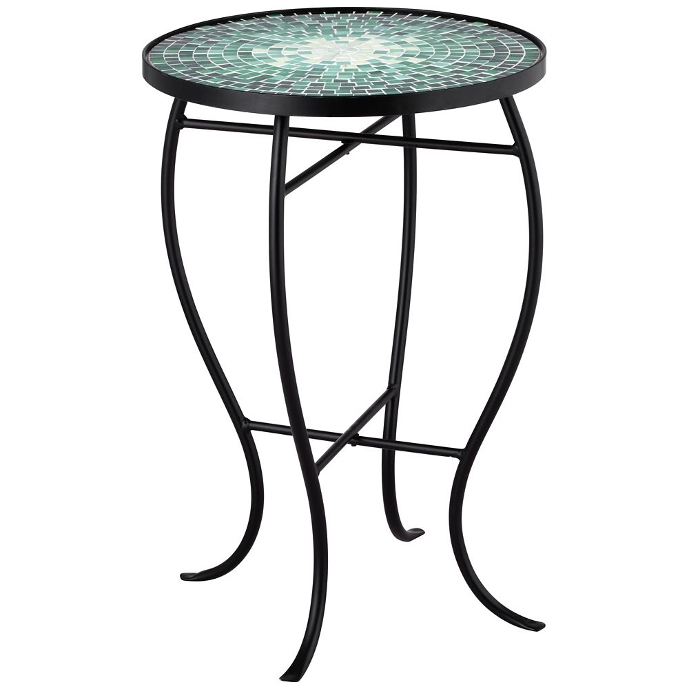 bella green mosaic outdoor accent table style products beach floor lamp pottery barn pedestal garden chair set half circle rattan patio furniture chairs bunnings wooden farmhouse