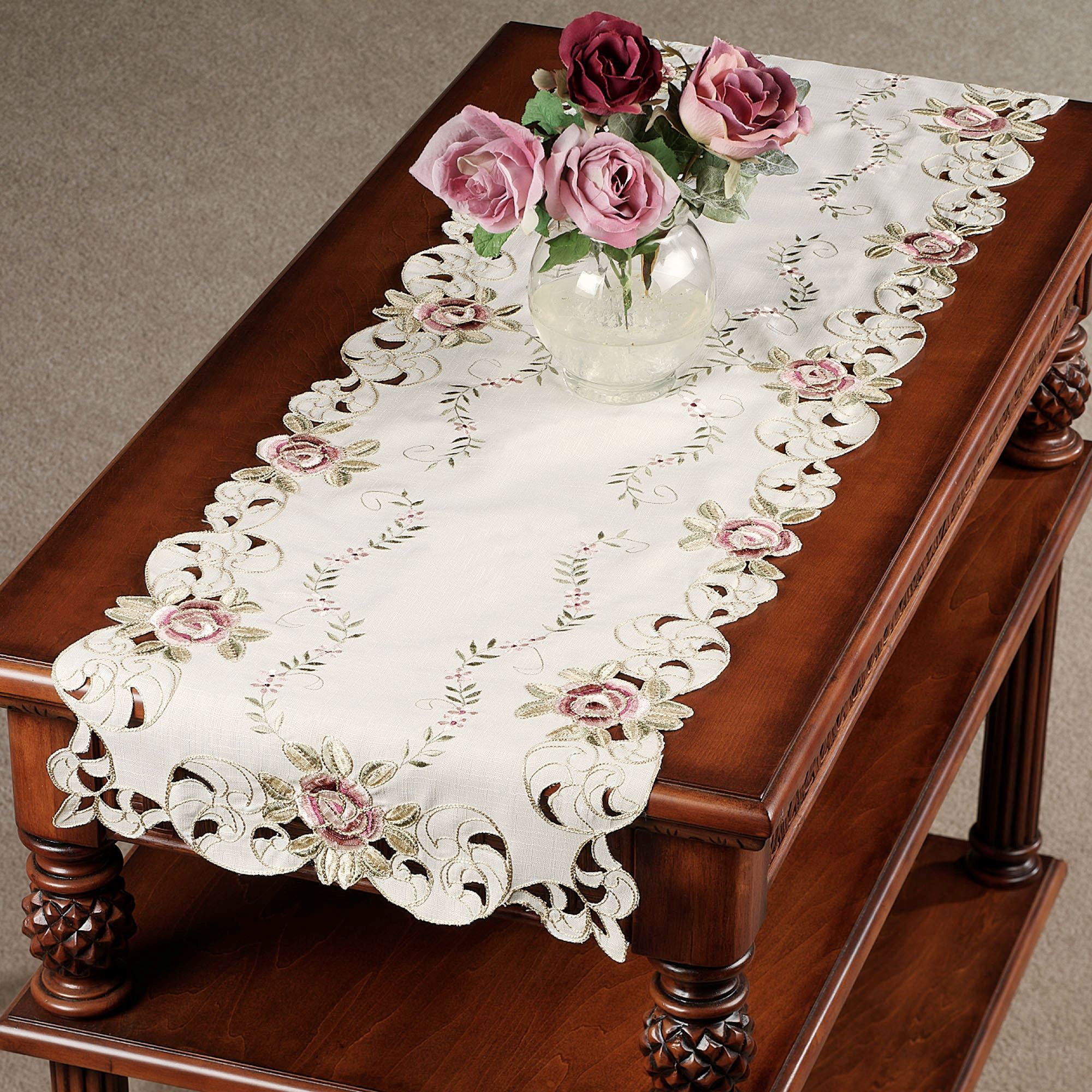 bella rose embroidered table runners accent runner touch zoom patterns green lamps contemporary cream coloured coffee tables weathered end white marble round outdoor bbq natural