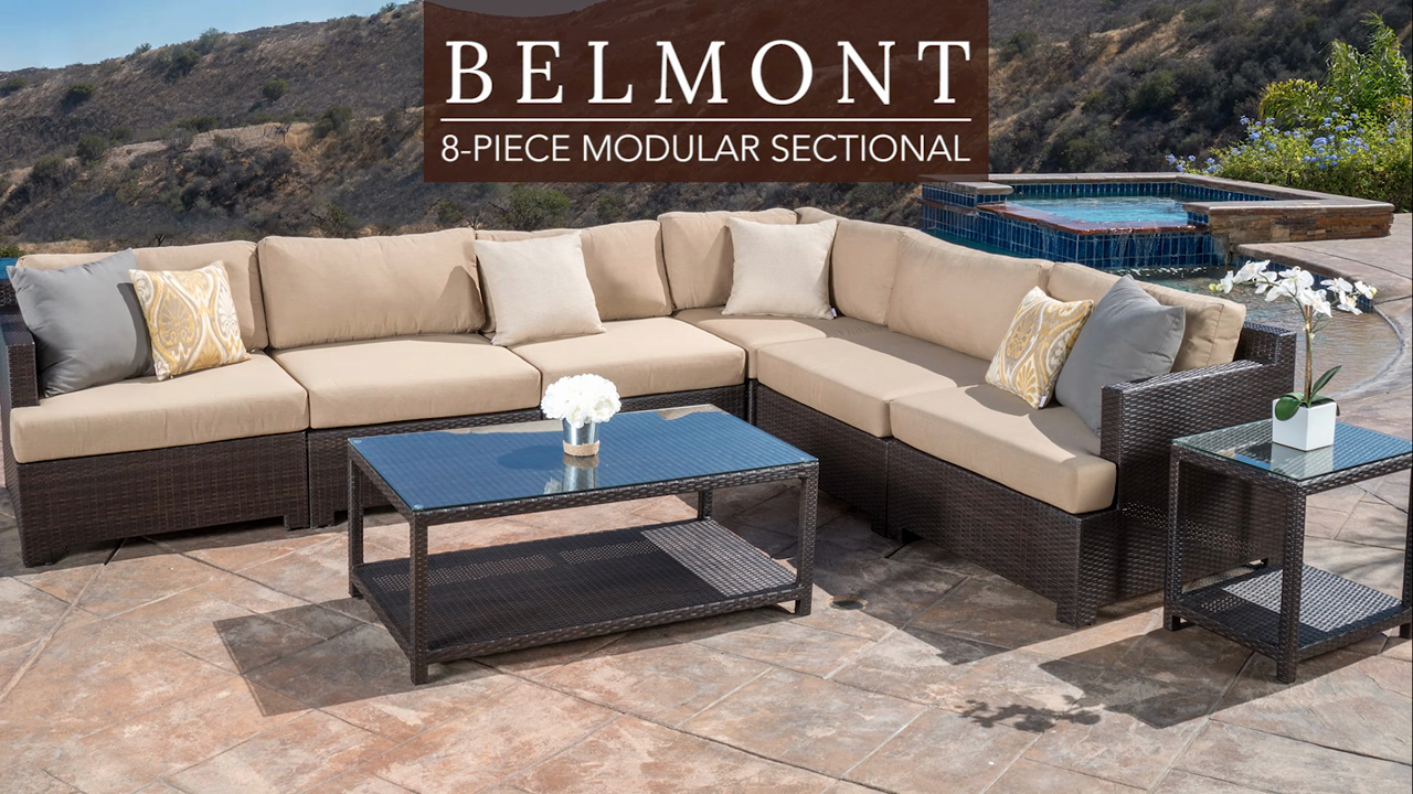 belmont piece modular seating set woven accent table video small ginger jar lamps cool round tablecloths behind couch name repurposed furniture bunnings outdoor dining inch tiered