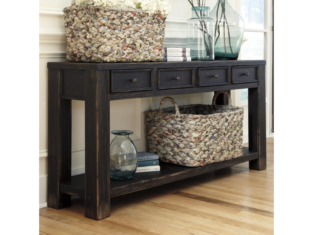 benchcraft gavelston distressed black sofa table with drawers products signature design ashley color virgil accent gavelstonsofa living room furniture nautical dining light