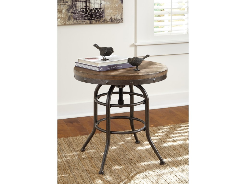 benchcraft vennilux industrial style round end table with adjustable products signature design ashley color rustic accents metal virgil accent venniluxround storage cabinets