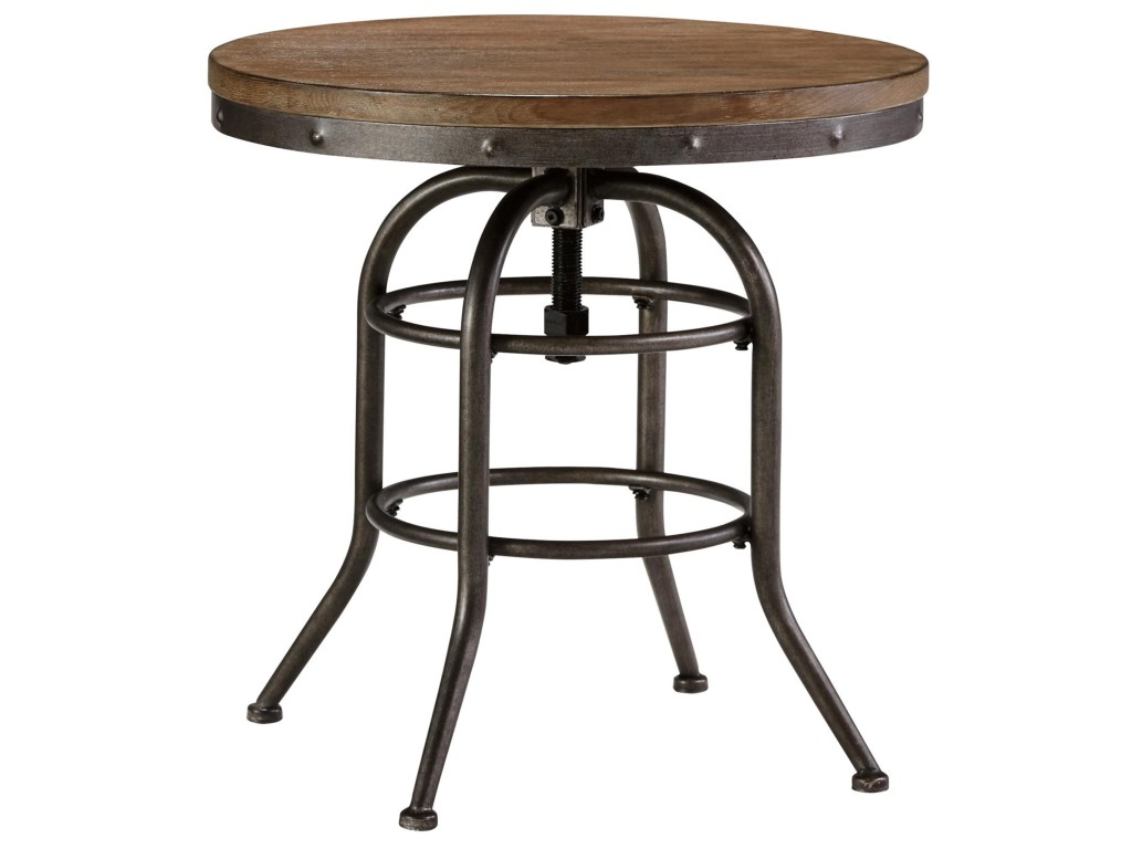 benchcraft vennilux industrial style round end table with adjustable products signature design ashley color rustic accents metal virgil accent venniluxround tall side white ginger