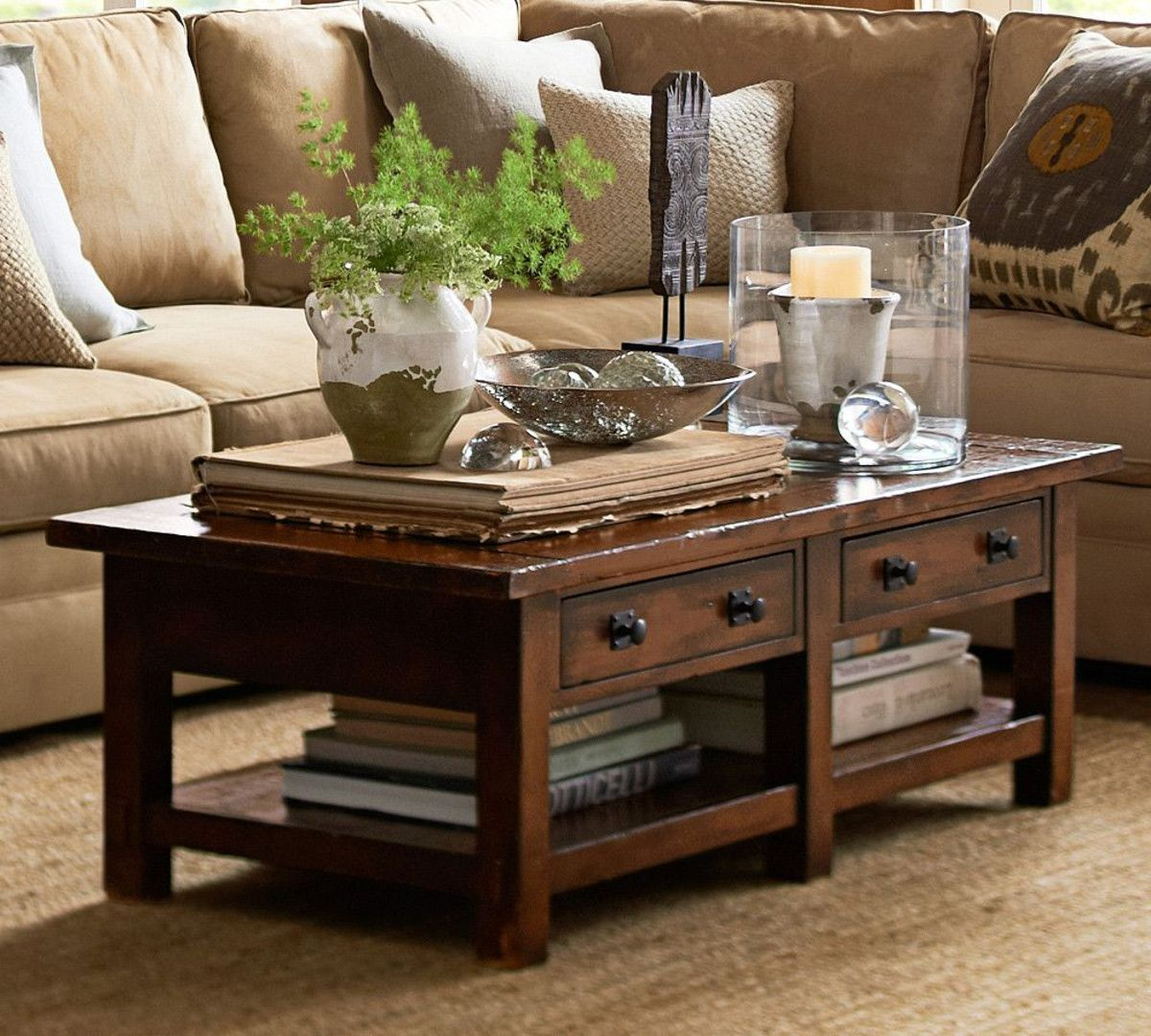 benchwright coffee table rustic mahogany stain pottery barn jamie accent pier one imports dining room tables small outside and chairs wells chair sliding door trade furniture