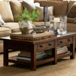 benchwright coffee table rustic mahogany stain pottery barn pedestal accent half moon console art marble kitchen small oak side tables for living room patio chairs and drum narrow 150x150