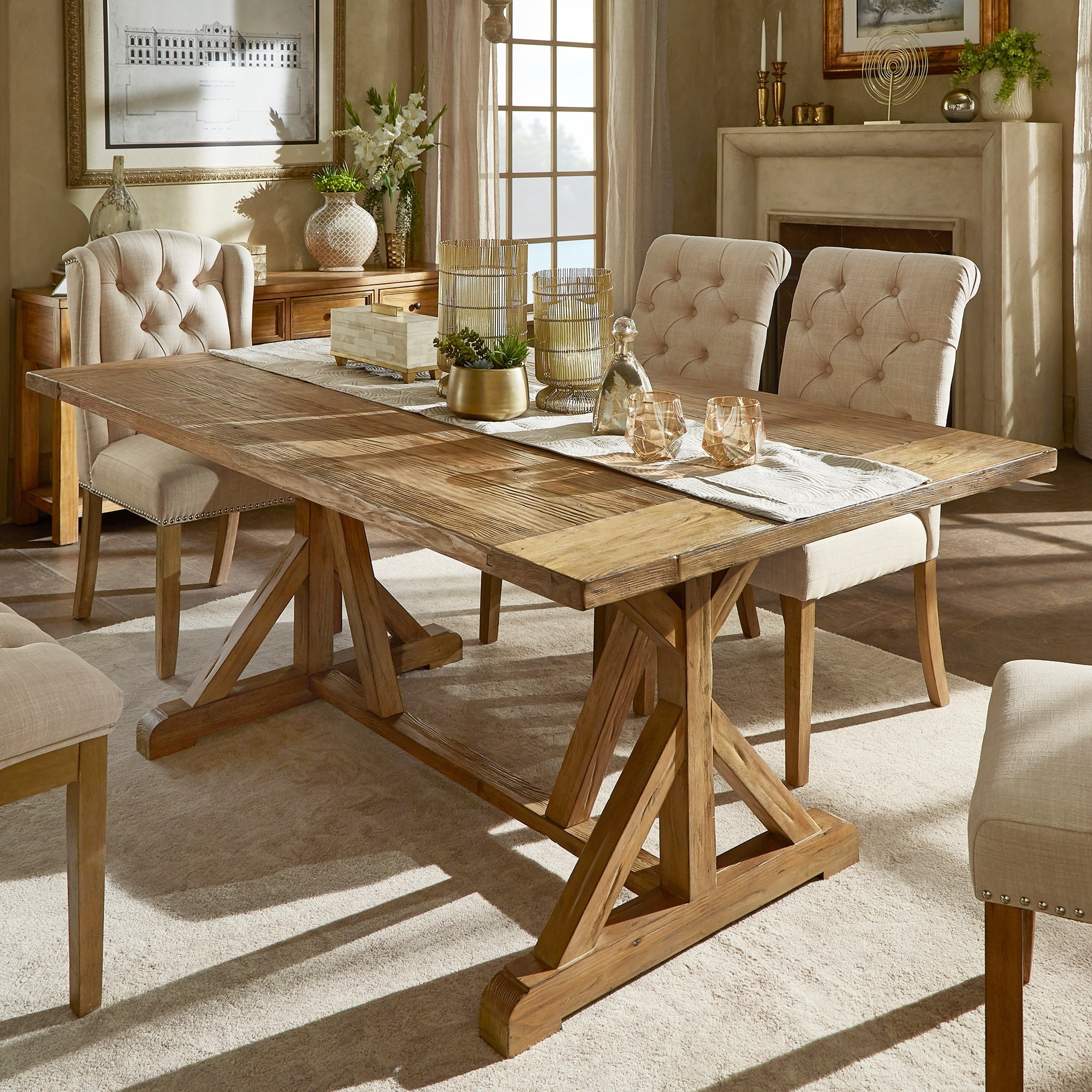 benchwright rustic pine accent trestle reinforced dining table inspire artisan room furniture small dresser lamps folding for space wine rack round top home goods desk outdoor