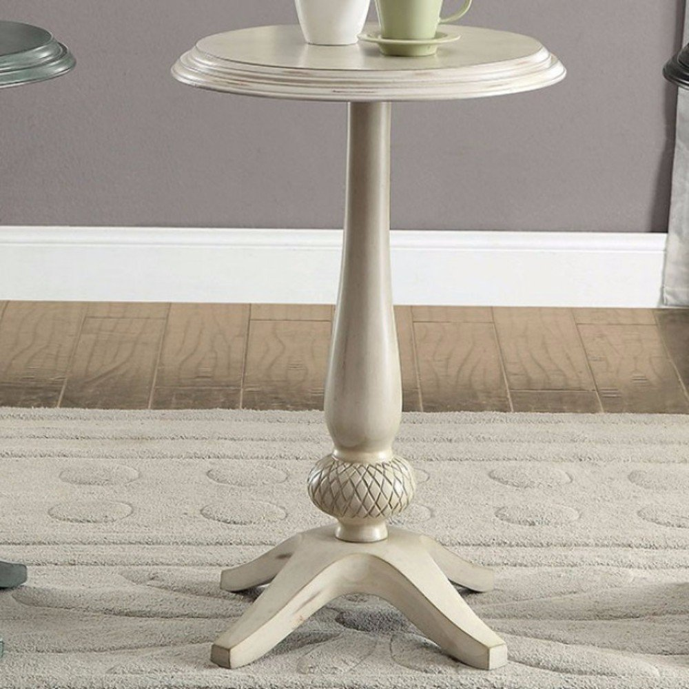 benzara antique white wood round accent table free shipping today ice box cooler side metal folding stainless steel kitchen island iron furniture glass bedside drawers sofa