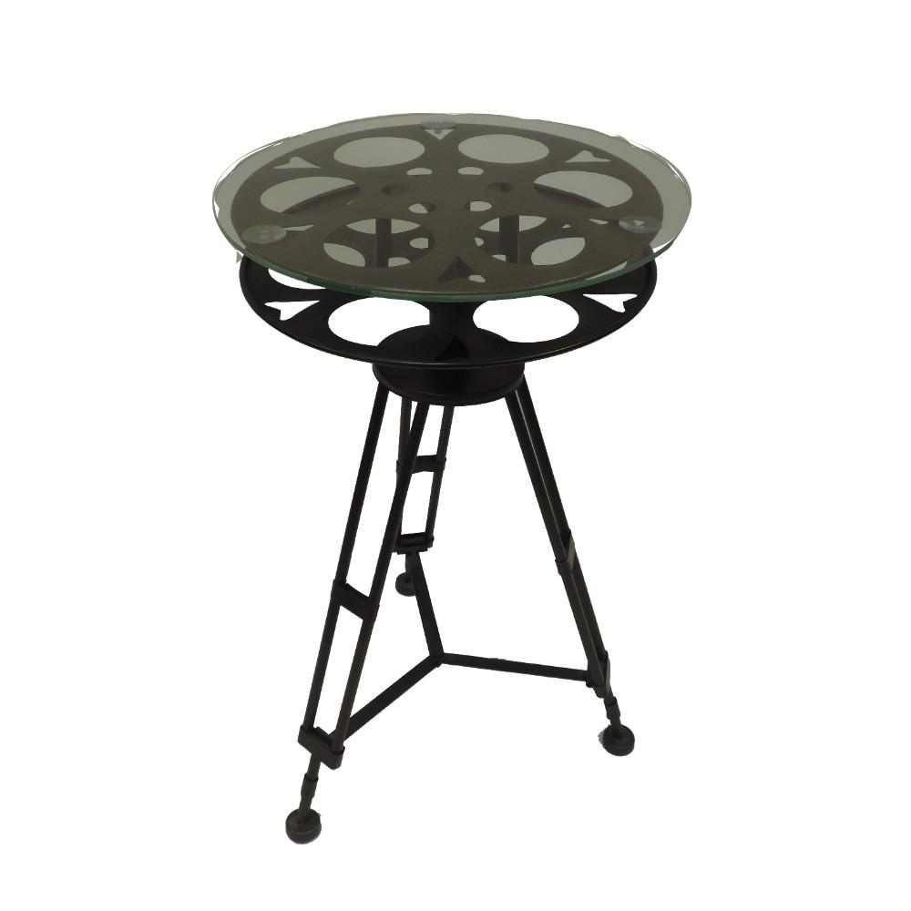 benzara black and clear tripod base metal accent table with glass console tables top unfinished furniture diy counter height outdoor parasol pier area rugs purple lamp shade round