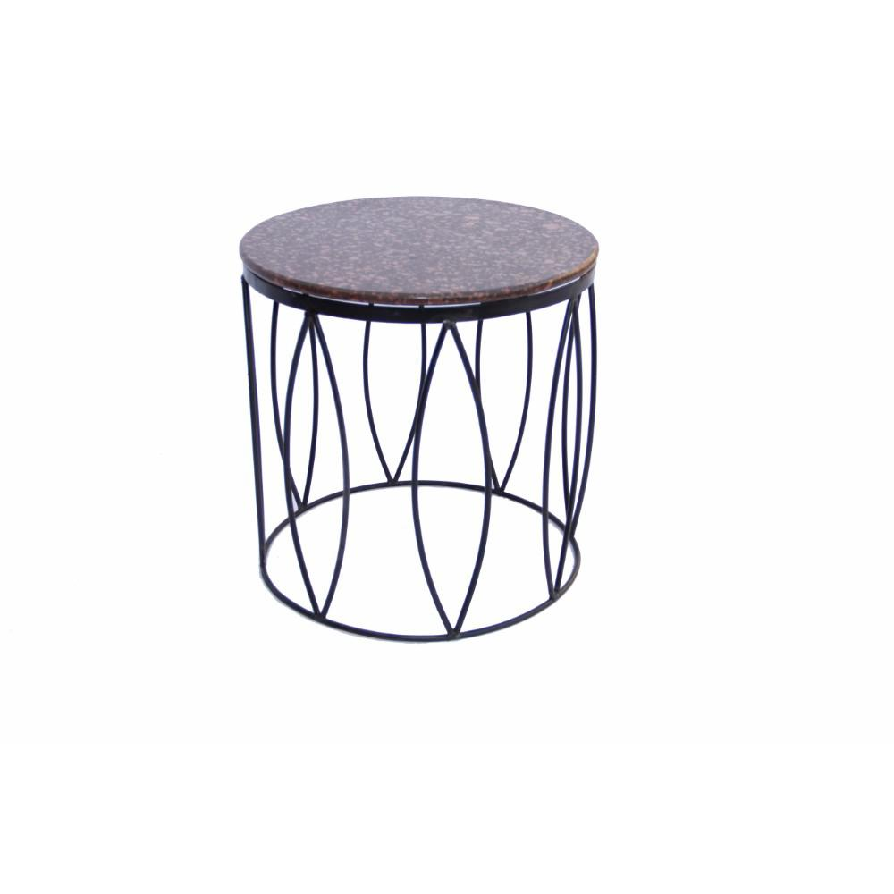 benzara brown contemporary style side table with iron base and end tables upt zara accent marble top tile bistro target lamps puck lights french round west elm white decor accents