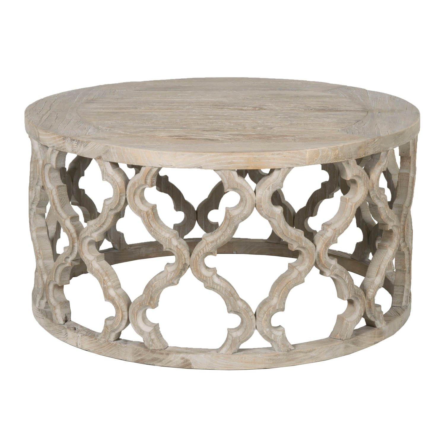 benzara round wooden coffee table quatrefoil wood accent design brown one kitchen dining sets tall narrow entryway uttermost martel console mirrored pedestal occasional tables