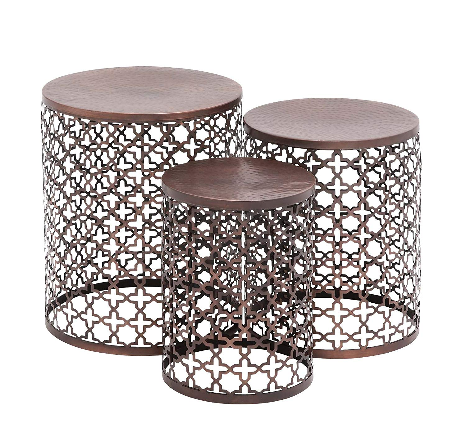 benzara the floral metal accent table set kitchen dining fretwork outdoor stone side commercial nic tables tablecloth pier one chair covers sofa and end marble utensil holder