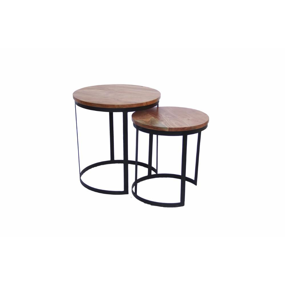 benzara voguish wood natural finish round iron nesting table set brown end tables upt zara accent plastic ice bucket steel coffee legs elm flooring metal hairpin emerald green