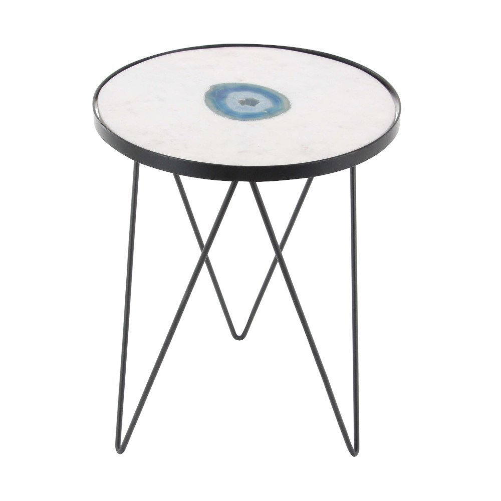 benzara white marble agate accent table free shipping today angelic glass desk combo round linens victorian side decorations metal home decor top and chairs walnut coffee end with