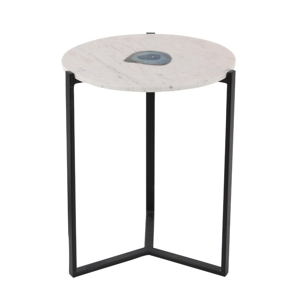 benzara white marble agate accent table with black metal base stunning free shipping today large side gold drum end changing cover wooden garden blue tables living room furniture