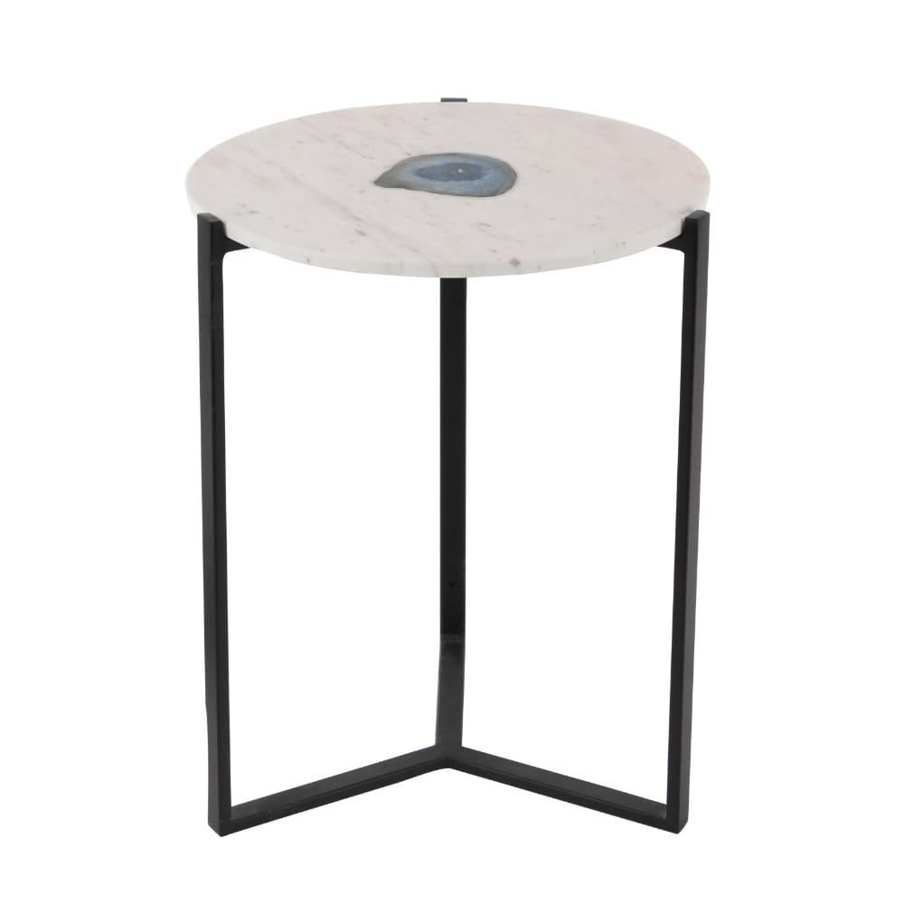 benzara white marble agate accent table with black metal base stunning glass free shipping today nest tables drawer home decor round and chairs square clear coffee patterned rug