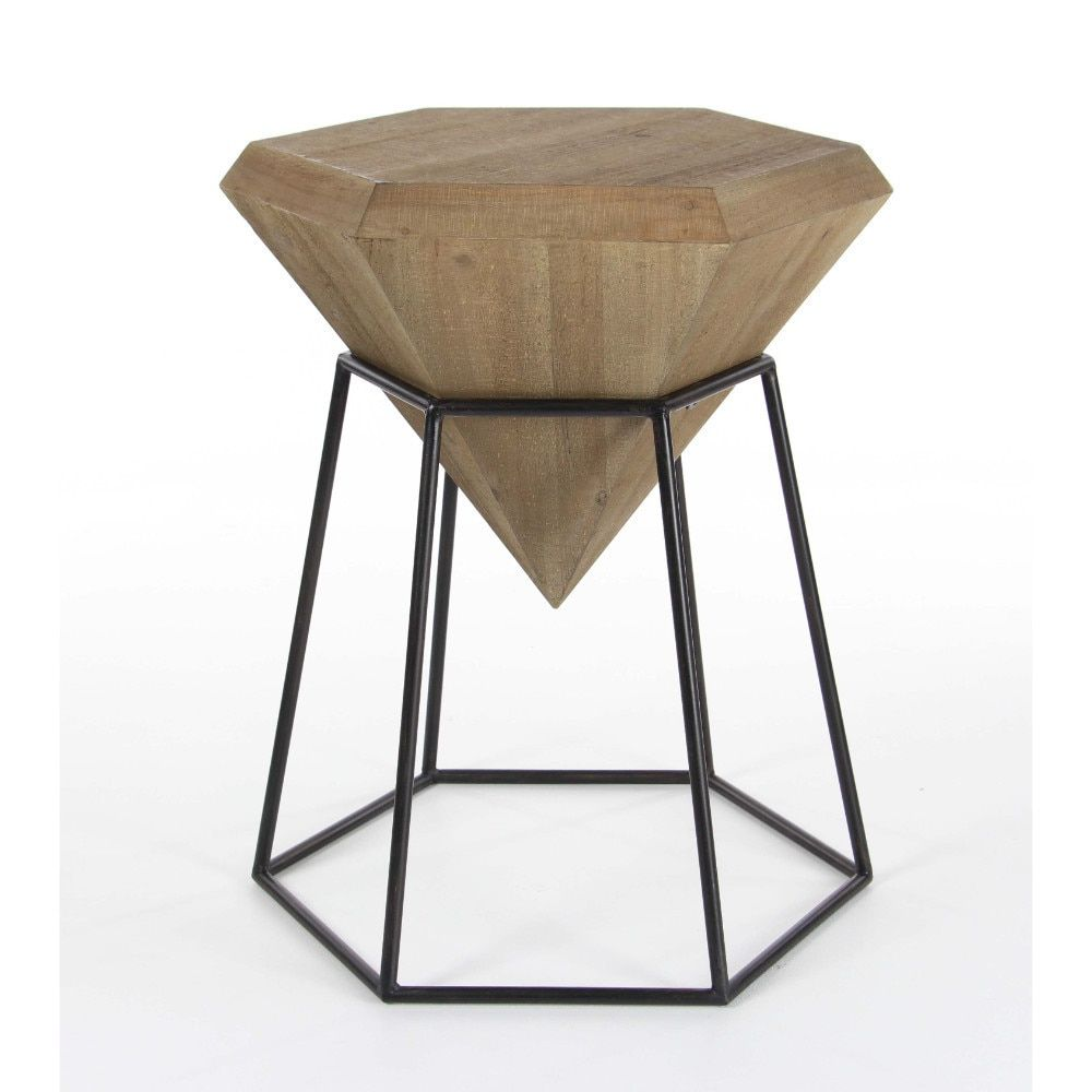 benzara wood and metal diamond shape accent table brown black kirkland small end tables side glass coffee with wrought iron legs leons kitchen luxury hobby lobby coupons mobile